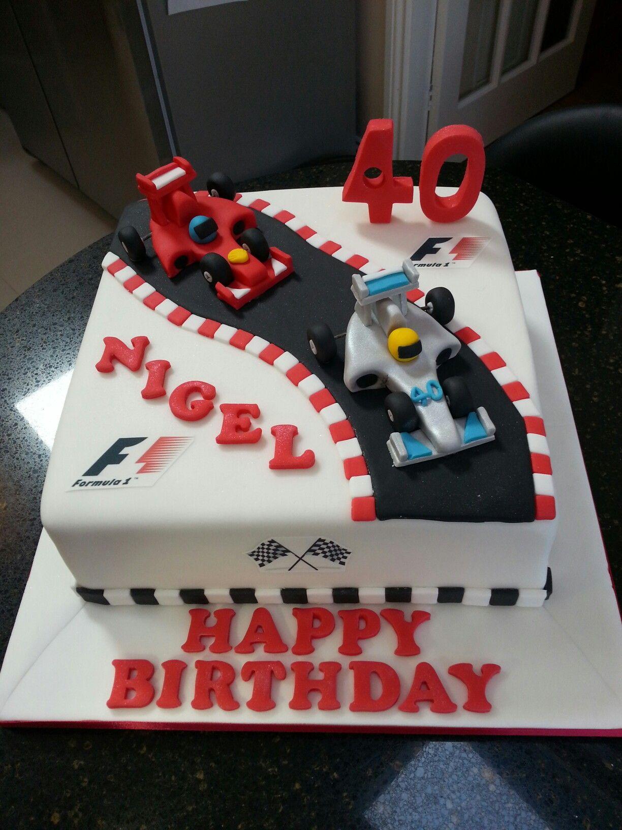 07a8e02d845 Formula one racing car 40th birthday cake Más