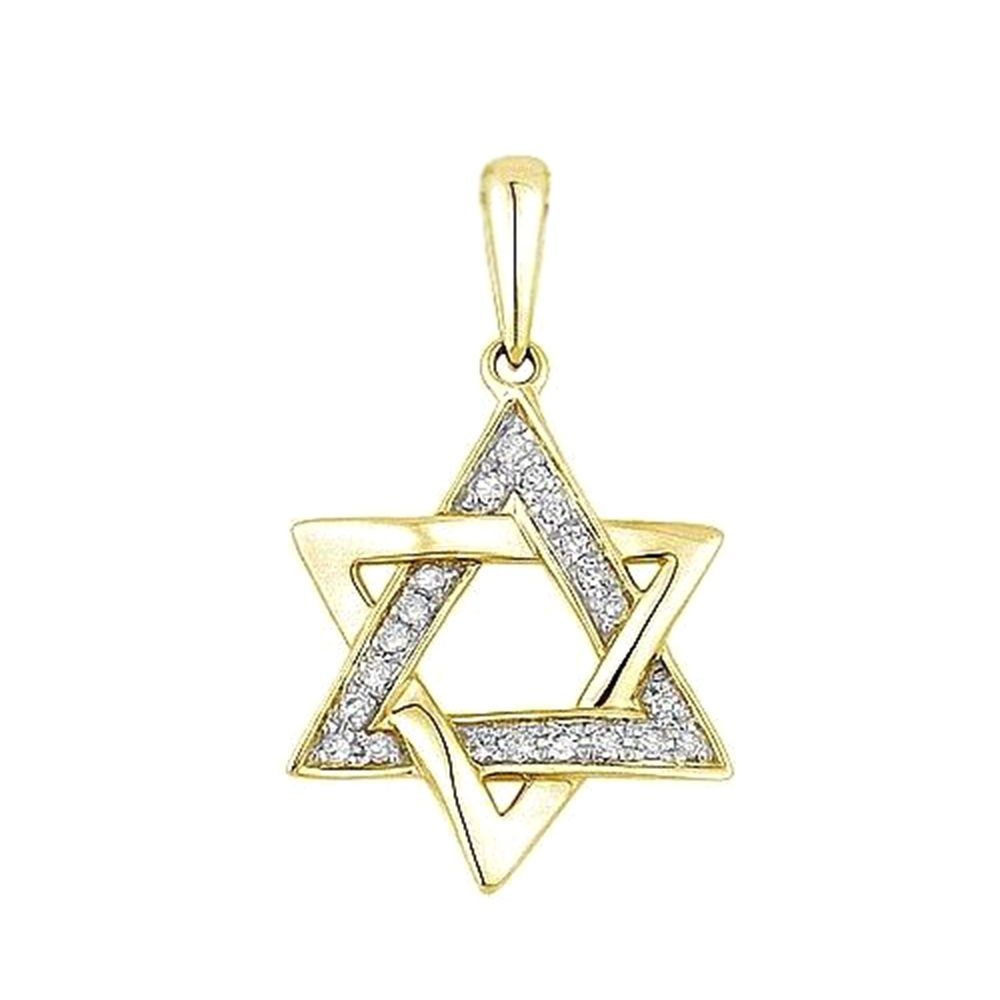 Yellow gold plated 925 sterling silver white cubic zircon star of yellow gold plated 925 sterling silver white cubic zircon star of david pendant adorablejewelry aloadofball Image collections