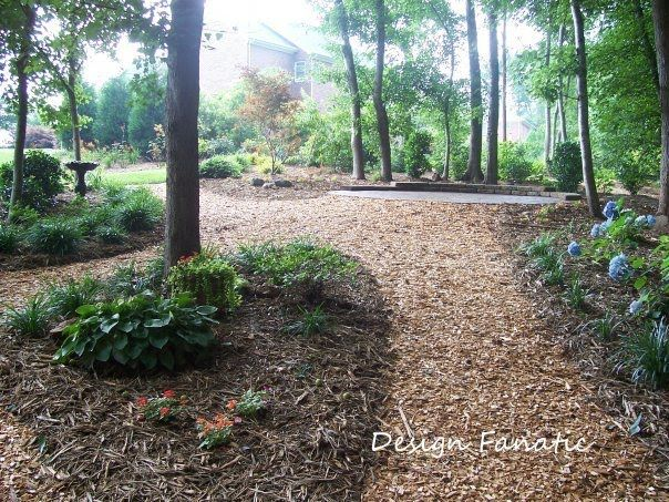 Diy Design Fanatic My Garden Ii Wooded Backyard Landscape Wooded Landscaping Sloped Garden