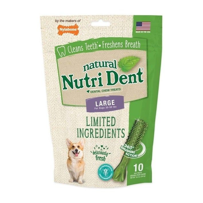 Nutrident Fresh Breath Dental Chew Treat Large Pouch 10 ct