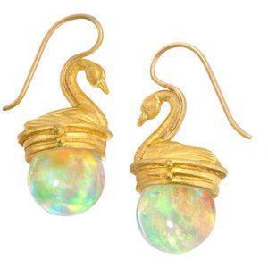 Lilly Fitzgerald Hand-Carved Ethiopian Opal Sphere Golden Swan Earrings