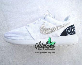 Swarovski Nike White Roshe Run w/ Dallas Cowboys Print Heel Blinged with  SWAROVSKI® Crystals