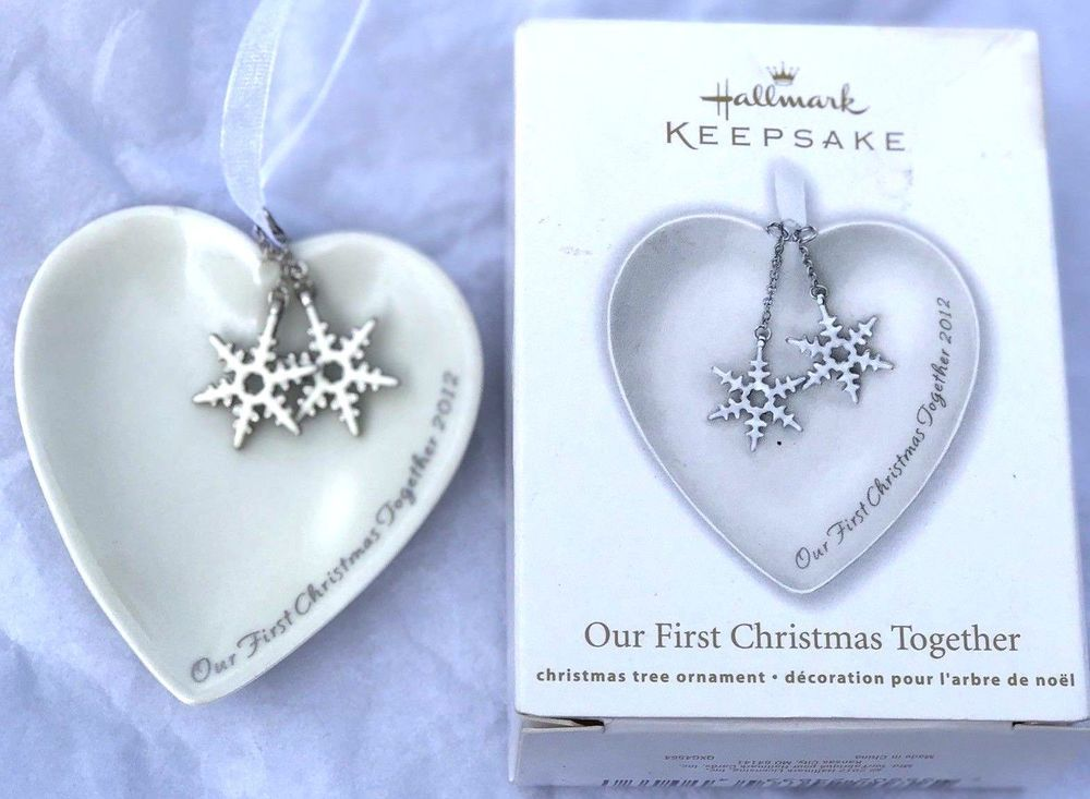 2012 Our First Christmas Ornament Together Porcelain Heart ...