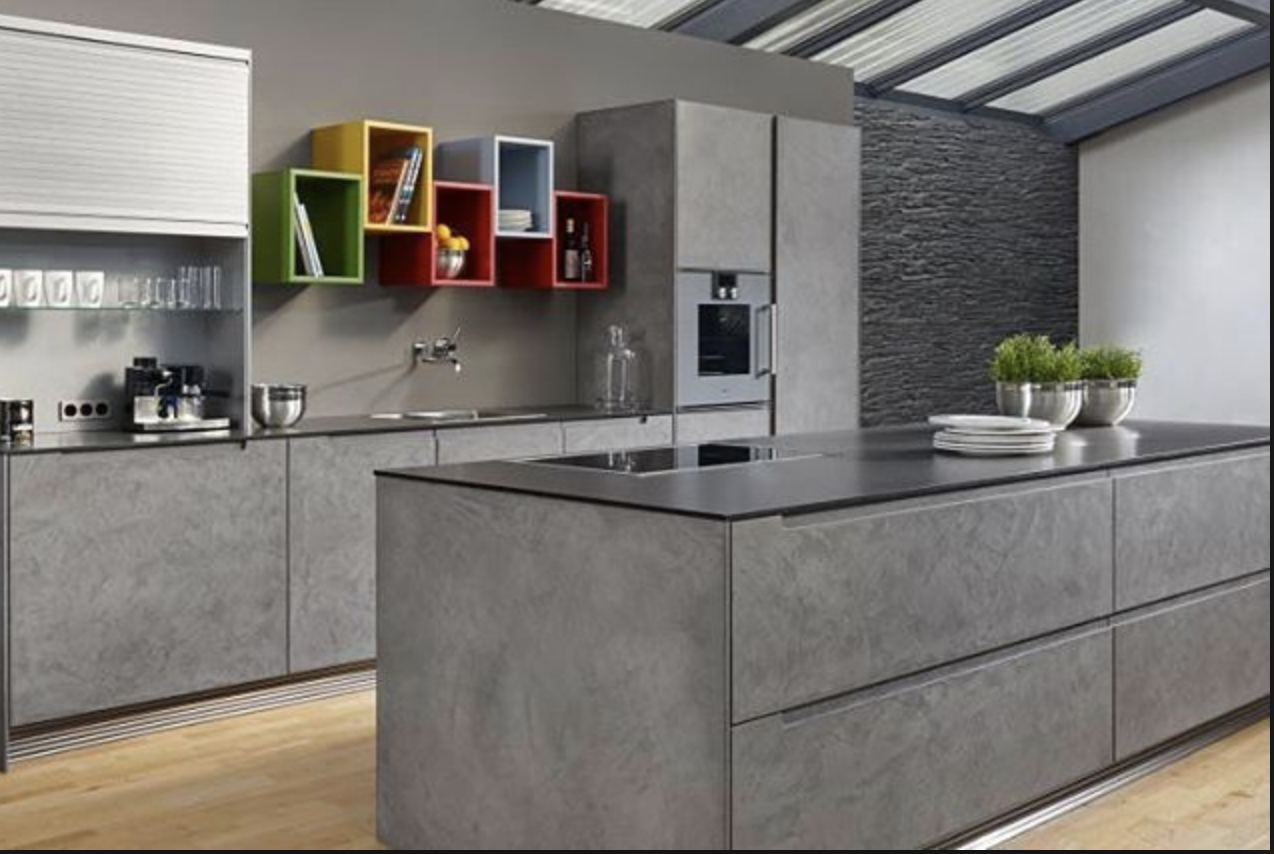 Something New For 2018 In The Kitchen Concrete Accents Concrete Has Always Been A Popular Material Choice But It Dizajn Kuhon Cveta Stolovoj Interer Kuhni