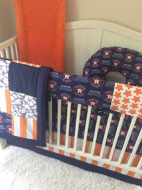 Houston Astros Baby Bedding Crib Set Orange White Blue Baseball Baby Bed Cribs Round Crib Bedding