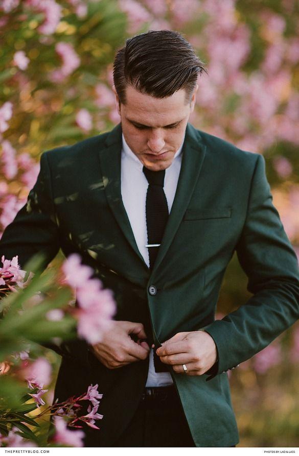 Pink And Green Wedding Inspiration With A Slight Hippie Twist Dark Suit Black Tie