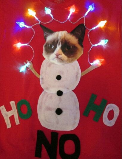 Ugly Christmas Sweater Grumpy Cat Lights Up By Thecostumestop Ugly