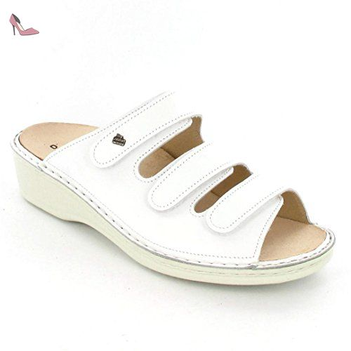 Finn Comfort Korfu, Sandales pour Femme Blanc Blanc Taille 43