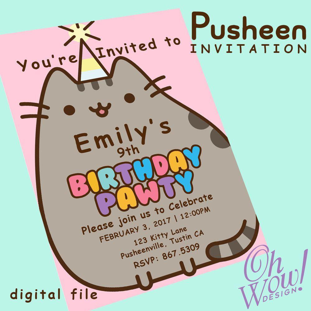Pusheen Cat Theme Party Invitation by OhWowDesign on Etsy | Birthday ...