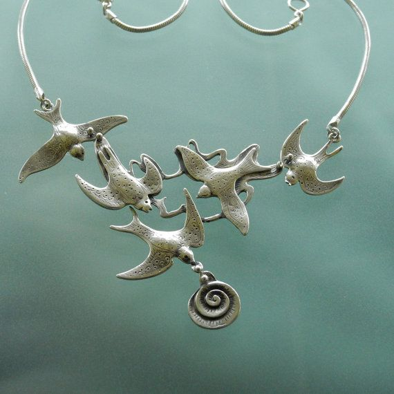 Flock of Swallows Necklace  handmade  sterling by BobsWhiskers, $175.00