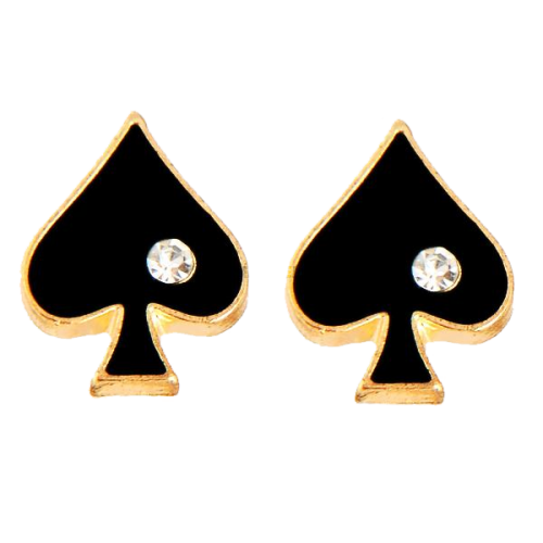 With Love From Vegas Queen Of Spades Stud Earrings