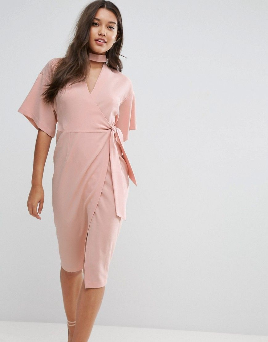 b5cd1a53d2 Asos wrap midi dress with choker detail pink products jpg 870x1110 Asos  pink dress