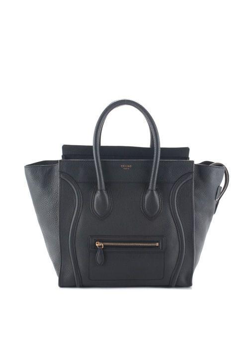 e68ed597b278 CELINE Dark Grey Pebbled Leather Mini Luggage Tote EVHB BP3899 MHL  luggage   tote