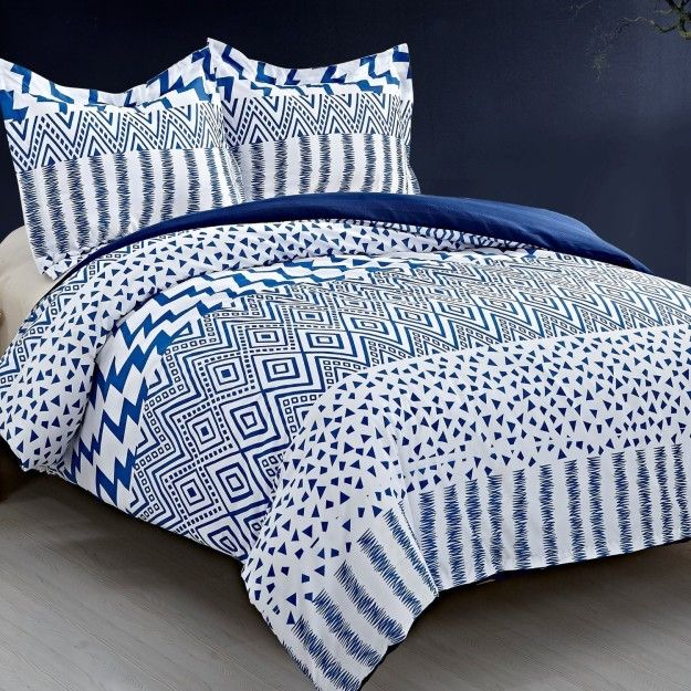 An Eclectic Reversible Duvet Cover Set Printed In An Array Of Blue And White Patterns Best Bedding Sets Duvet Cover Sets Kids Duvet Cover