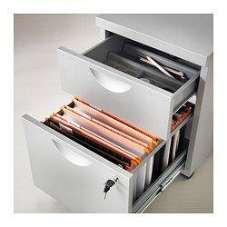 IKEA - ERIK, Cassettiera a 2 cassetti su rotelle, color argento, , Il cassetto per cartelle sospese ti permette di suddividere e archiviare facilmente i documenti.È facile da spostare dove serve grazie alle rotelle.Puoi chiudere entrambi i cassetti con la serratura.I fermacassetti evitano che i cassetti vengano estratti troppo.