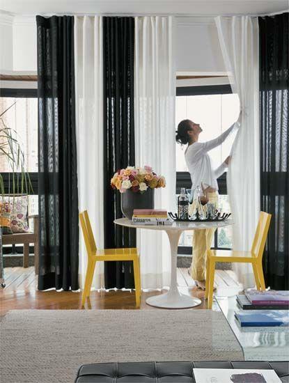 50 Ambientes Com Cortinas Modernas E Elegantes Fotos Curtains Living Room Black Living Room Home Decor
