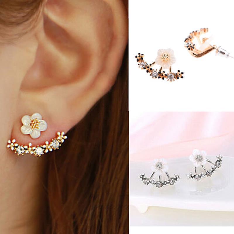 Sterling Daisy Flower Ear Climber Earrings Flower Earrings