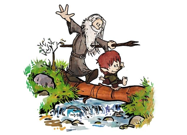 """T-shirt design from Threadless, called """"Halfling and Wizard"""" beautifully blends two pop culture phenomenons together, Lord of the Rings and Calvin & Hobbs."""