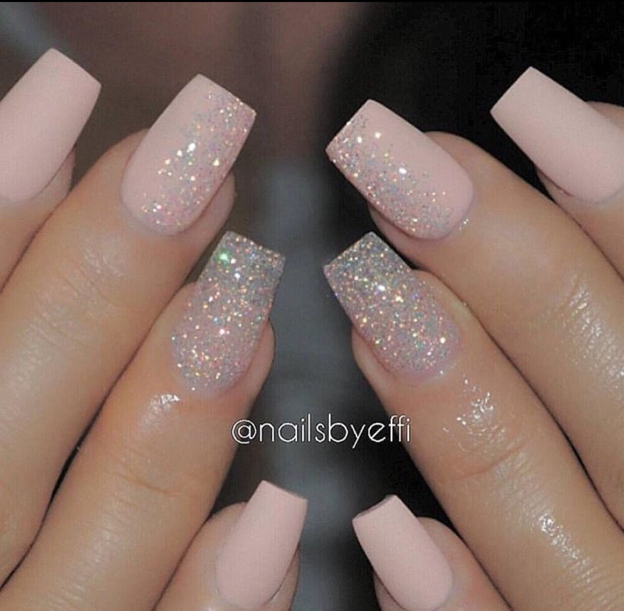Light pink matte w glitter accent or gradient accent on each nail