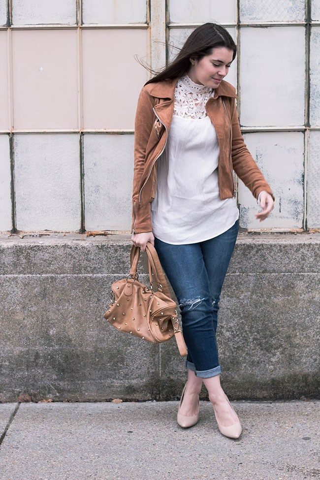 7c59a11f30e470 Spring Style| Mock Neck| Lace Top| Girlfriend Jeans| Studded Bag| Moto  Jacket| Spring Outfit Ideas| Click the pin to see more details