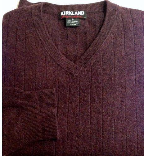 100 Cashmere Sweater Mens XL Burgundy Maroon V Neck Ribbed Kirkland   eBay