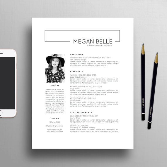 Modern Resume Template, 1-2 Page Resume + Creative Cover Letter Template, US Letter & A4, Professional Template, Instant Download, Megan