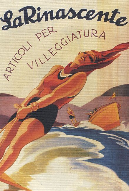 ITALY LA RINASCENTE LUGGAGE TRAVEL ARTICLES ITALIAN VINTAGE POSTER REPRO