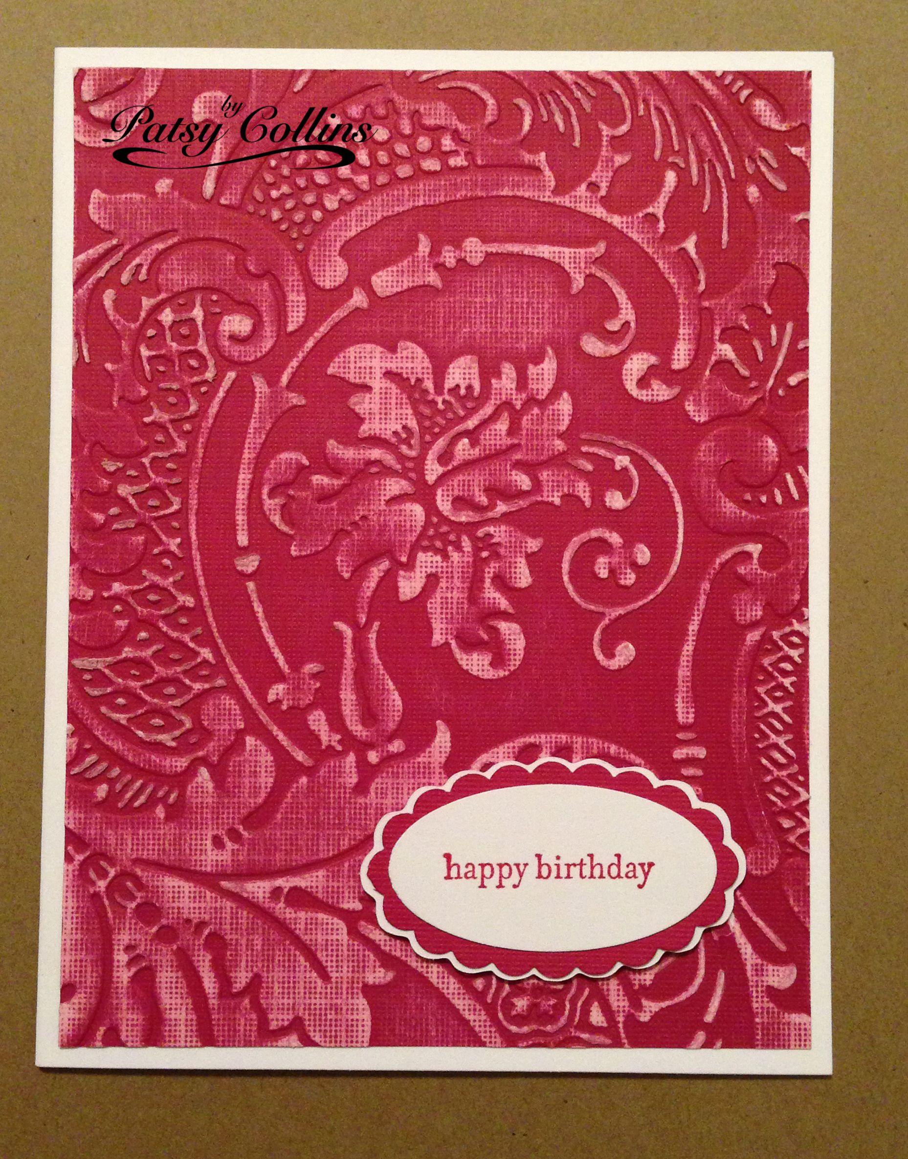 by patsy collins dry emboss whitecore cardstock sand