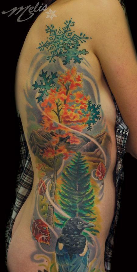 fusco tattoo autumn aspen tree magpie bird denver colorado tattoo colorado trip. Black Bedroom Furniture Sets. Home Design Ideas