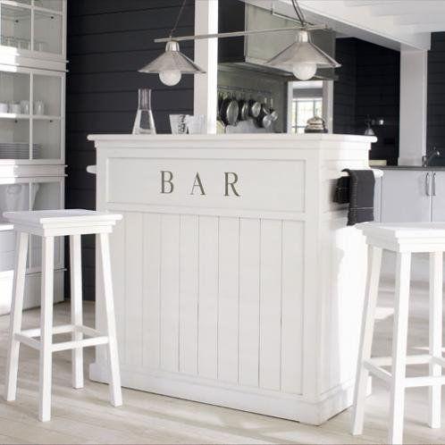 Meuble de bar en pin blanc L 120 cm   bar by helene guegan   Pinterest