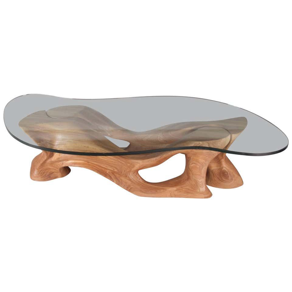 Contemporary Oval Glass Coffee Table With Antique Light Brown Smooth Sanded Walnut Wood Base With Short Coffee Table And Coffee Tables On Wh Design Ikea Tafels [ 731 x 1120 Pixel ]