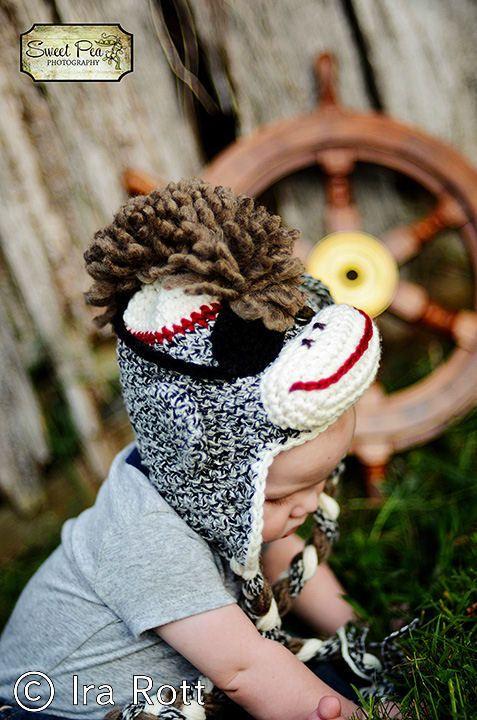 1ac78650d633 Pirate sock monkey hat | Costume Ideas | Crochet animal hats, Sock ...