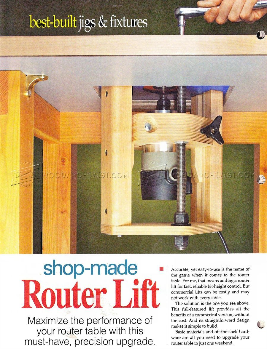 Homemade router table lift -  968 Router Table Lift Plans Router Tips Jigs And Fixtures