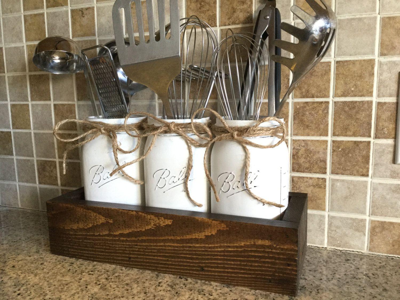 Mason Jar Kitchen Decor Rustic Kitchen Decor Utensils Holder Mason Jar Utensils  Craft