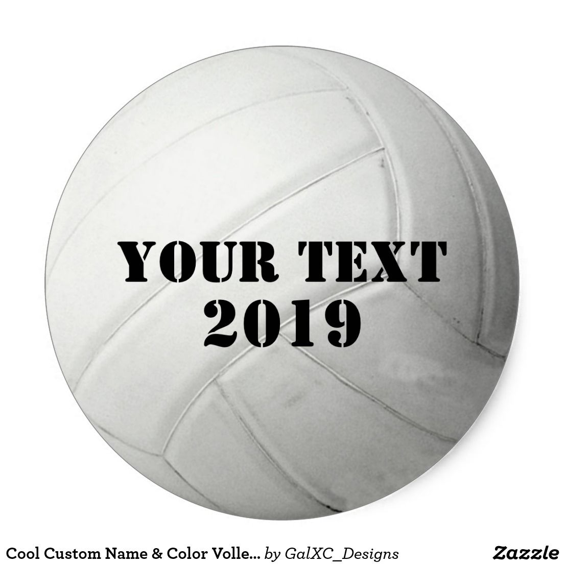 Cool Custom Name Color Volleyball Team Sports Classic Round Sticker Zazzle Com Volleyball Team Making The Team Sports