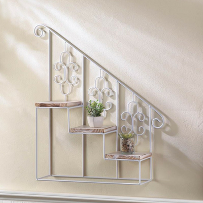 White Stair Steps Wall Shelf With Images Staircase Wall Unique Wall Decor Wall Display