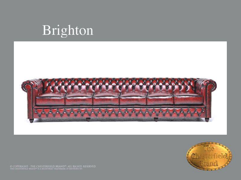 Chesterfield 6 asiento</br>Brighton 6 Rojo burgundy envejecido