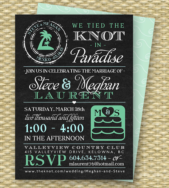 Chalkboard Post Destination Wedding Reception Invitation Tied The Knot In Paradise Beach Invite Any Colors On Etsy 18 00
