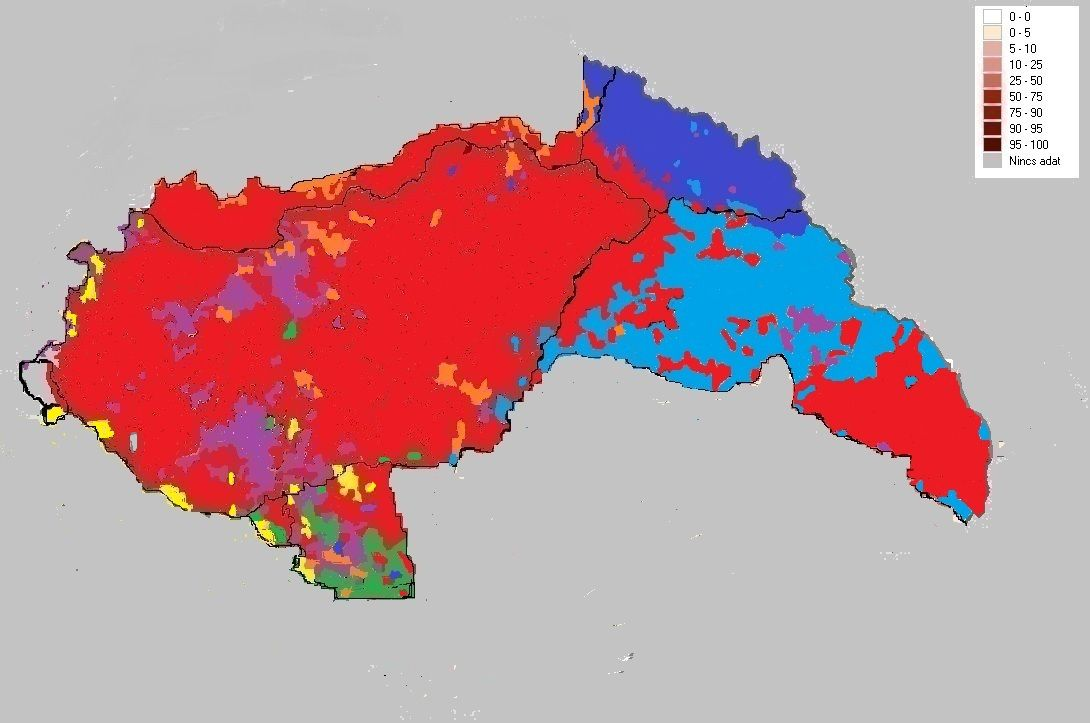 Ethnic map of the Hungarian Kingdom between 1941 - 1944. red = hungarians, light blue = romanians, dark blue = ruthenians, orange = slovakians, yellow = croatians, green = serbians, purple = germans, grey = slovenians