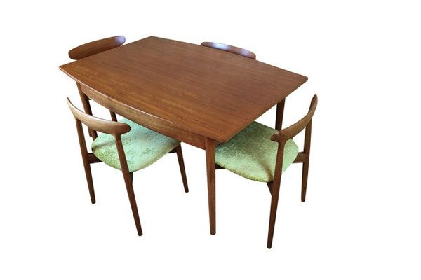 Harry Ostergaard Mid Century Danish Teak Dining Table And Chairs Set Teak Dining Table Table Chair Sets Teak Dining Chairs