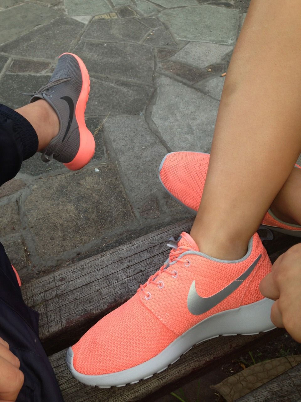 shoes, nike roshe run, nike air max thea, apricot, glacier