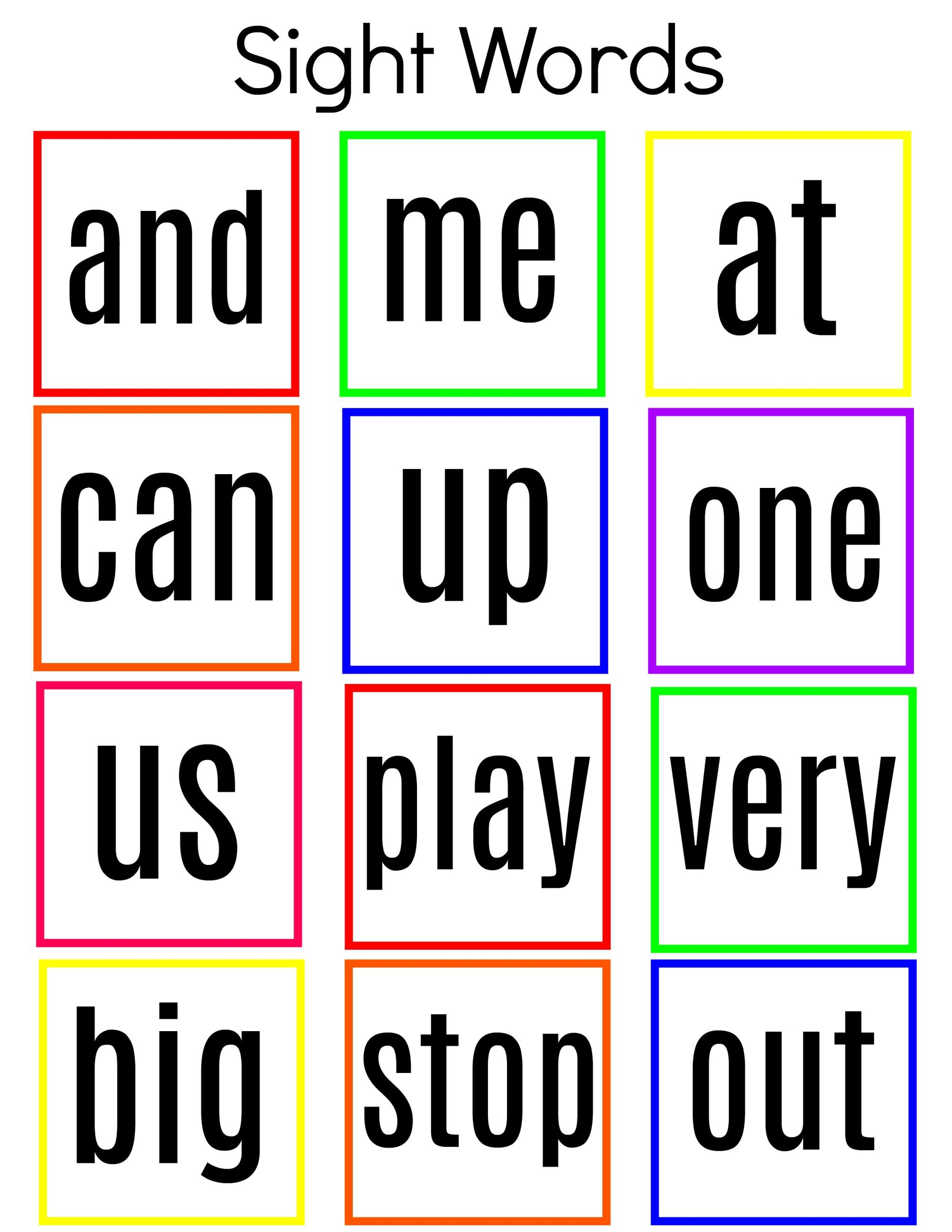 Common Sight Words Printable