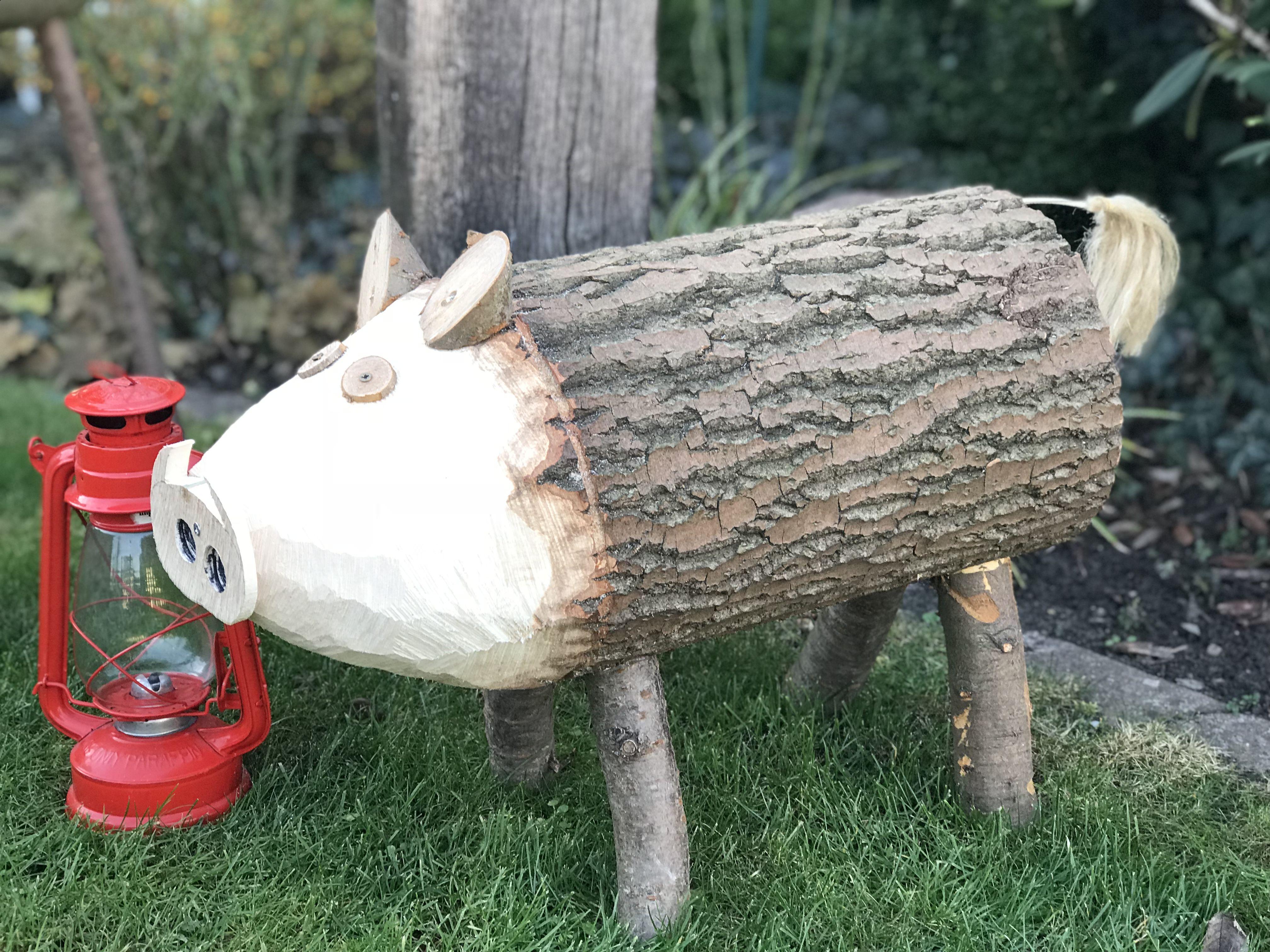 Tier Aus Holz Selbst Bauen Gartendeko Schwein Ostern Basteln Holz Selber Machen Holz Gartendeko Holz