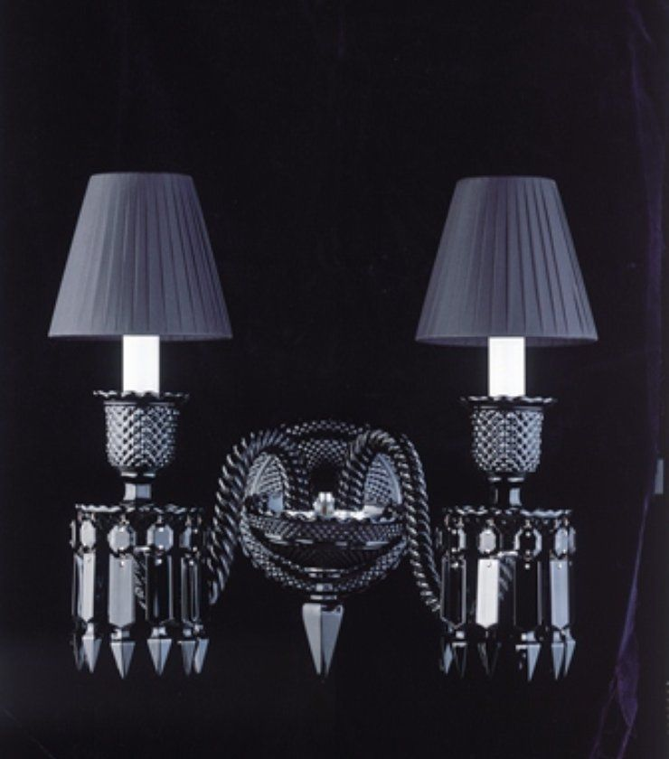 Baccarat crystal zenith 2 light black crystal sconce starck by philippe starck handcrafted full lead onyx crystal