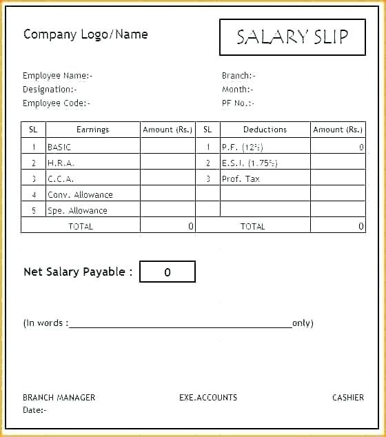 15 Payslip Template Uk Excel Paystub Confirmation Word
