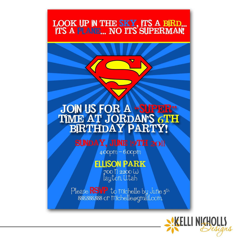 Superman Birthday Party Invitation 1500 via Etsy – Superman Birthday Invitations