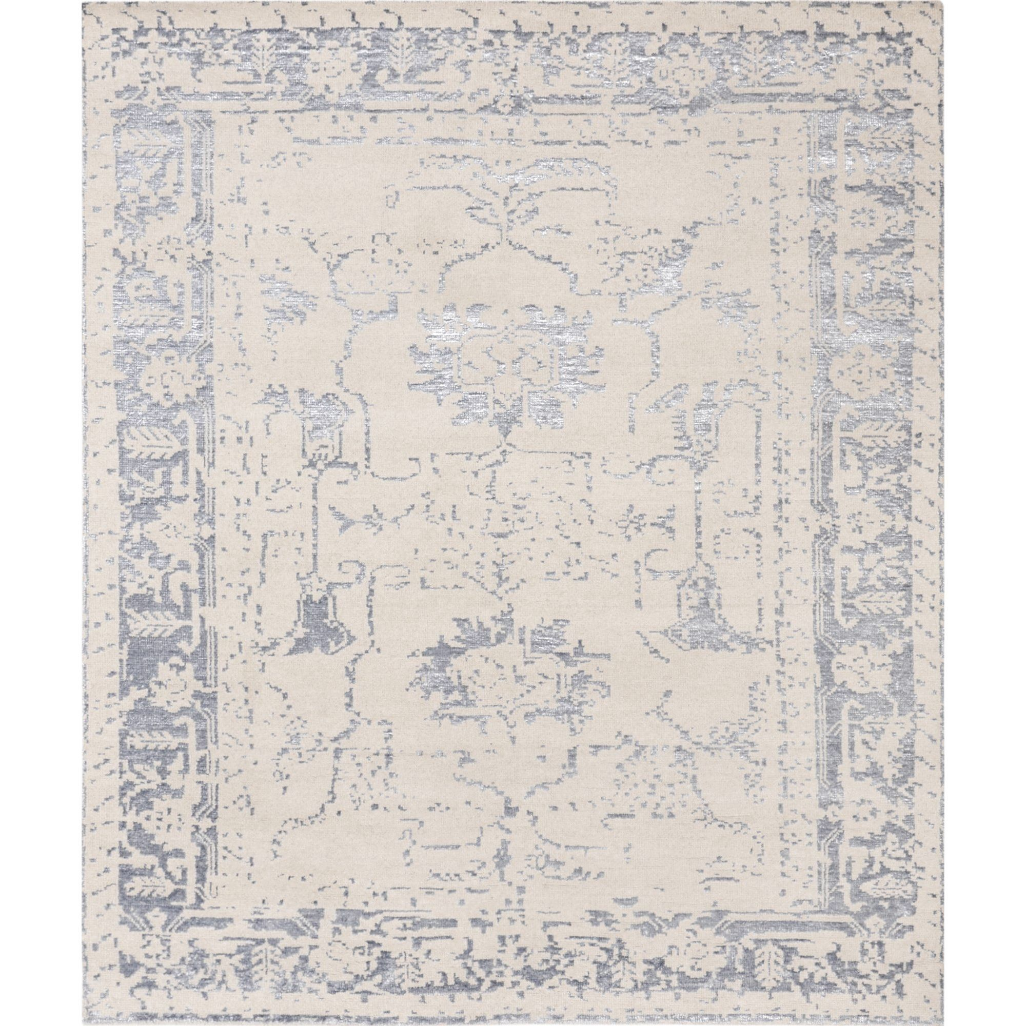 Pasargad's Silk Fusion Collection Hand-knotted Beige Viscose from Bamboo and Wool Area Rug (8' X 10') (8x10), Size 8' x 10'
