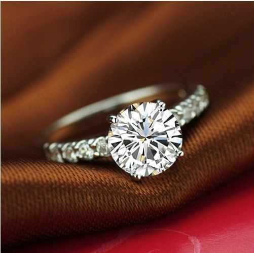 1ct Sona Synthetic Diamond Rings For Women High Quality Sterling Silver Platinum Plated Bridal Engagement