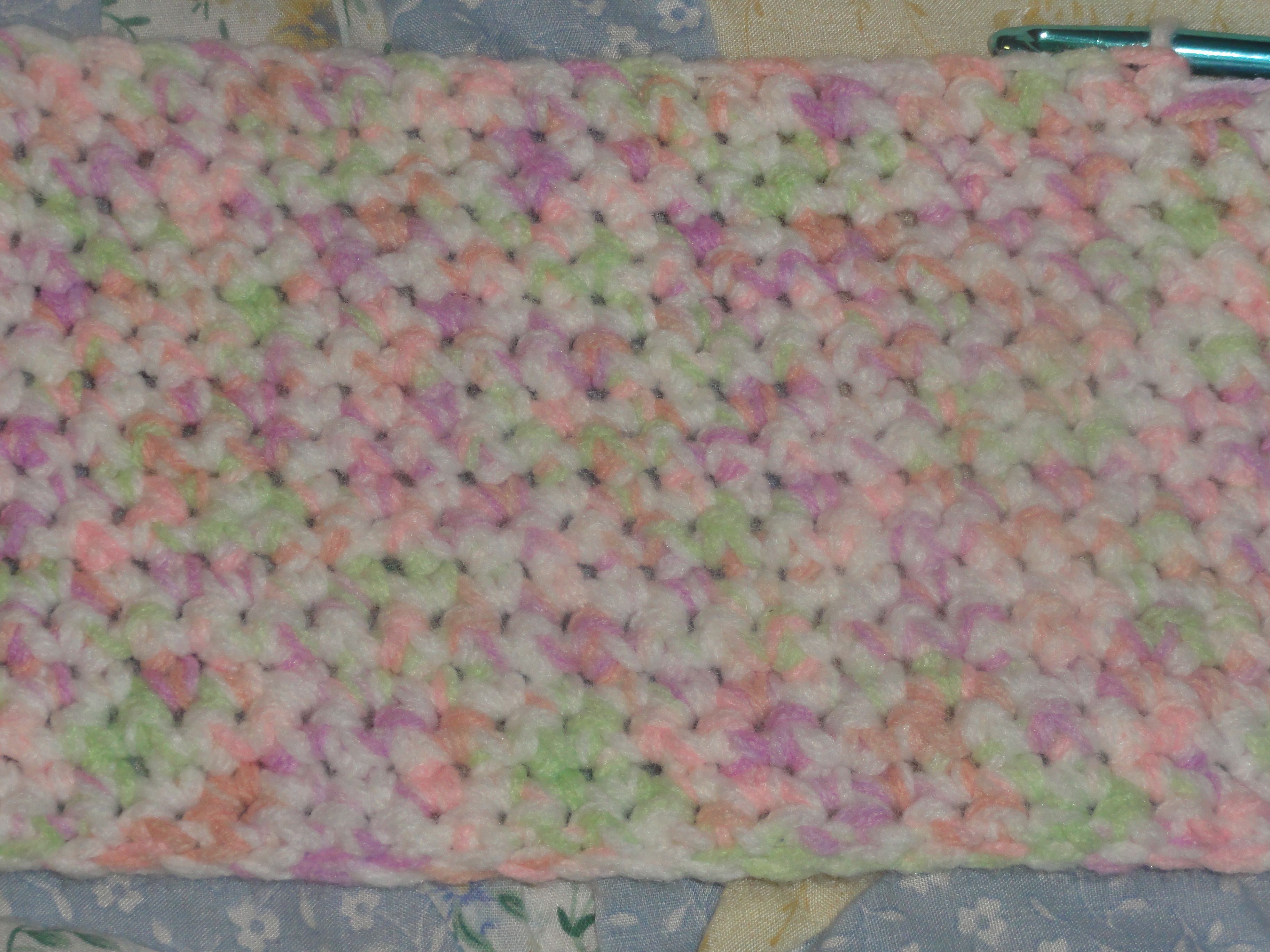 A simple single crochet baby blanket I am working on. I\'m calling it ...