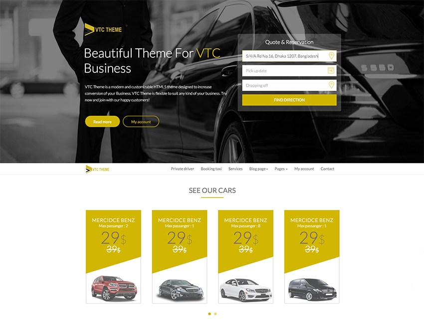 Vtc Theme Is Ful Bootstrap Template That Help To Make Booking Cars Web Site Or Taxi And Private Moto